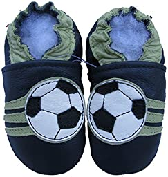 Carozoo baby boy soft sole leather infant toddler kids shoes Soccer Dark Blue 0-6m