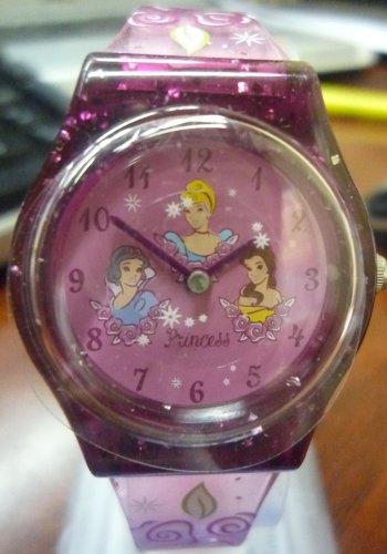 Disney womens or girls 3 Princess cinderella sleeping beauty and snow white Watch spinning disk second hand MU0620