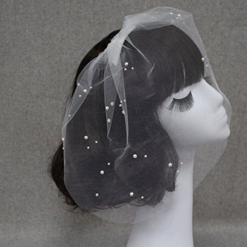 TAKIYA®Single-layer Pearl Bridal Wedding Short Veil-White