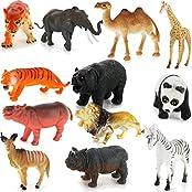 Generic Plastic PVC Wild Animals Model Set Kids Toy Gift 12pcs Multi-color