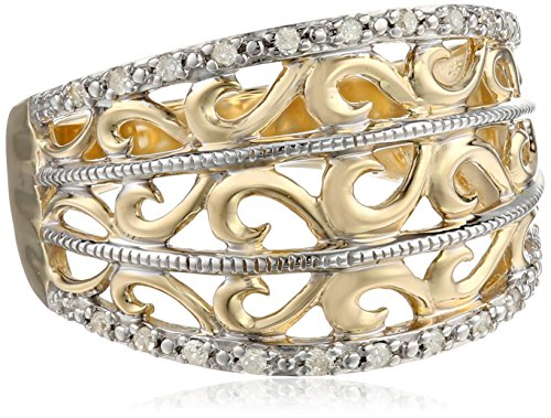 10k Yellow Gold Filigree Diamond Ring (1/10 cttw, I-J Color, I2-3 Clarity), Size 7