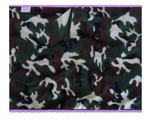 Patricia Ann Designs Camouflage Fleece Changing Mat With Check Trim, Pink front-223439