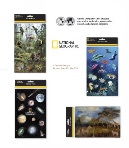 National Geographic Sticker Sheets Zoo Animal Stickers Seanimal Stickers, Ocean Animal Stickers, Jungle Animal stickers Safari Animal Stickers Stickers For Kids or Adults National Geogrphic Kids 4 Packs 4 Sheets Per Pack - 1