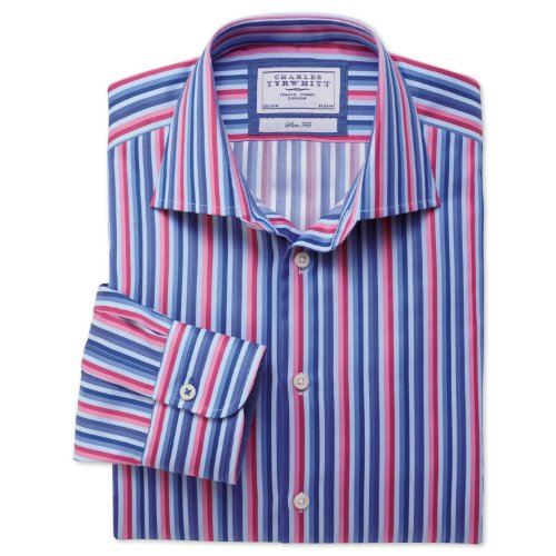 Charles Tyrwhitt Pink and blue multi stripe business casual slim fit shirt (16.5 - 34)