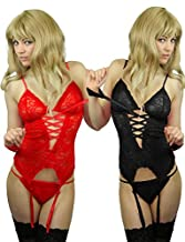Yummy Bee Lingerie Teddy Cami Babydoll Set Suspenders + Lace Stockings Handcuffs Plus Size 6 - 22