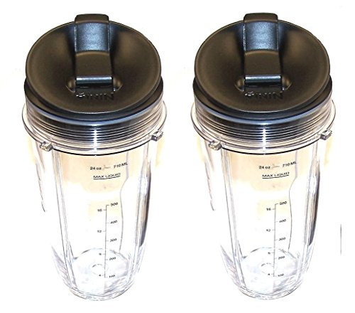 Sduck Replacement Parts for Nutri Ninja Blender, Regular Two 24oz. Cups & Sip & Seal lids With marks for measuring For 900w 1000w Auto-iQ and Duo Blenders Nutri Ninja Blender Accessories (Ninja Pro Blender 900 compare prices)