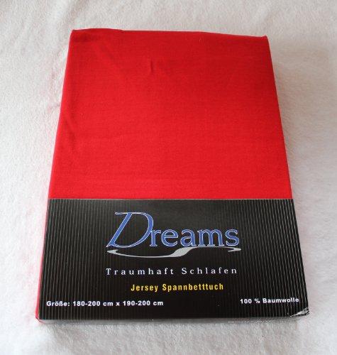 Dreams 100% Baumwolle Jersey Spannbettlaken Farbe Rot Größe 180 x 200 bis 200 x 200 cm Spannbettuch Spannlaken mit Rundumgummi