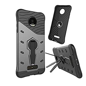 Chevron Motorola Moto Z Back Cover - Galaxy Black [Sniper 360° Rotate Stand Version 3.0 Ultimate Warrior Case] [Air Cushion Technology - Shock Proof] [Dual Layer Impact Protection Kick Stand] For Motorola Moto Z