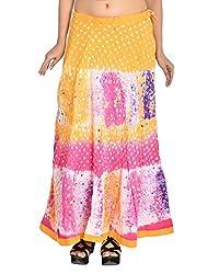 Aura Life Style Women's Cotton Bandhej Skirt (ALSK3009B, Multi , Free Size)