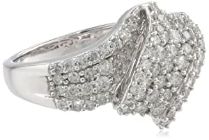 Sterling Silver Diamond Ribbon Design Ring, Size 7 (1 cttw, I-J Color, I2-I3 Clarity)