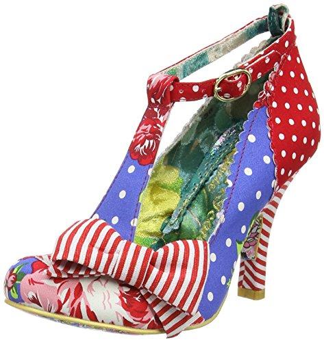 Irregular ChoiceBloxy - Scarpe con cinturino alla caviglia donna, colore Blu (Blu (Blue/Red)), taglia 4 UK (37 EU)
