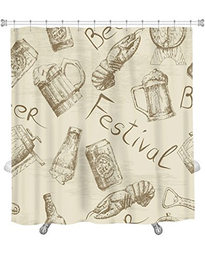 Gear New Shower Curtain, Image Of Sketch Beer Pattern, GN8418