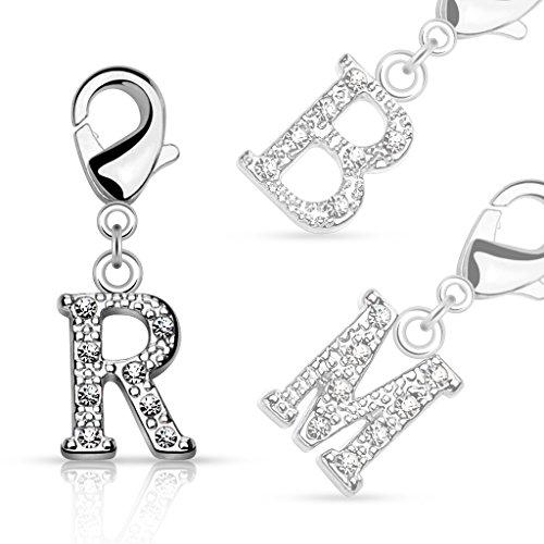 bungsa® lettere cristallo d' argento anello ciondolo per braccialetto orecchini collana con zirconi uomo e donna ciondolo per bambini (catena Pendant Beads a B C D E F G H I J K L M N O P R S T U V W Z), Y