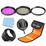 K&F Concept 67mm UV CPL FLD Lens Accessory Filter Kit UV Protector Circular Polarizing Filter for Canon 7D 700D 600D 70D 60D 650D 550D for Nikon D7100 D80 D90 D7000 D5200 D3200 D5100 D3200 D5300 DSLR Cameras + Microfiber Lens Cleaning Cloth + Lens Hood +
