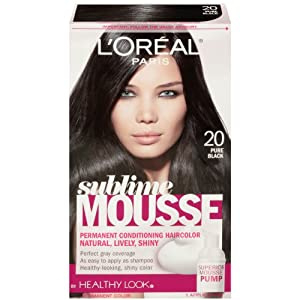 L'Oreal Paris Sublime Mousse by Healthy Look Hair Color, 20 Pure Black