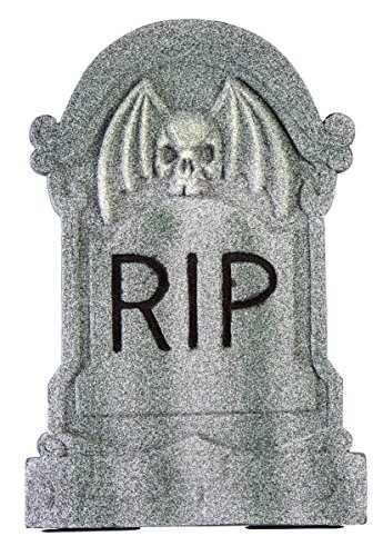 Winged Skull Tombstone Decoration Gray