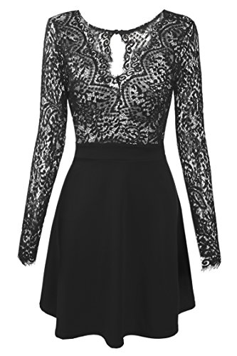 Zeagoo Women's V Neck Lace Floral Open Back Skater Pleated Cocktail Party Dress