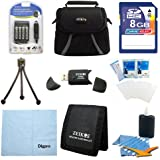 Fujifilm Fully Loaded Value 8GB Card and AA Battery Kit for Fujifilm S2950, S4200, S4500 & Canon SX160 - Includes AA AC/DC Charger with 4 AA Batteries, 8GB Memory Card, Carrying Case, USB 2.0 Card Reader, Mini Tripod, 3 Card Memory Card Wallet, Cleaning C