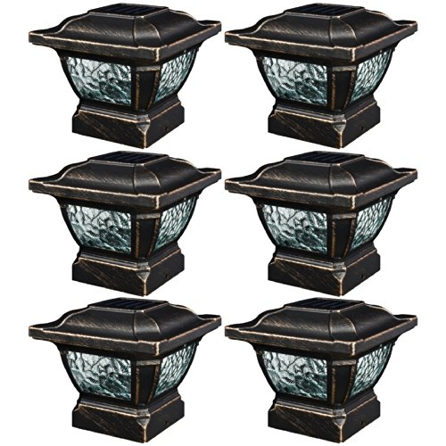 Paradise-GL28998BZ-Solar-Cast-Aluminum-LED-Post-Cap-Light-Bronze-6-Pack