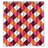 "Modern Brown Red Orange White Small Squares Design Shower Curtain (New Waterproof Polyester Fabric)(66""x72"") - Special Life Custom Bathroom Exclusive"