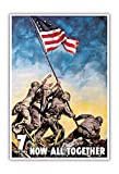 Iwo jima American Flag Raising - Now All Together - 7th War Loan - Vintage War Poster by C.C. Beall 1945 - Master Art Print - 13in x 19in