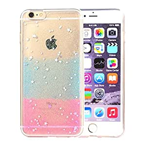 """iphone 6 plus Case, iphone 6 (5.5"""") Case, ARTMINE Luxury Chic Art Bling Colorful Sparkling Stars Shell Durable Crystal Plastic Protective Snap On Soft Silicone Back Case Cover Blue and Pink"""