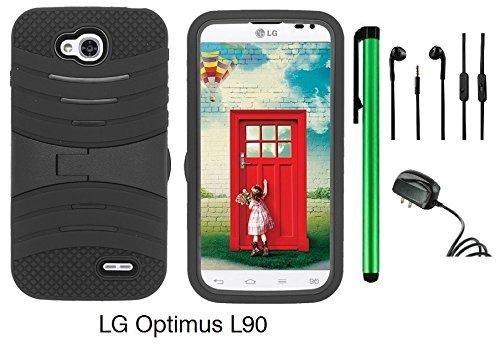 Premium Ucase With Kickstand Cover Case For Lg Optimus L90 (D415) (Us Carrier: T-Mobile) + Travel Charger + 3.5Mm Stereo Earphones + 1 Of New Assorted Color Metal Stylus Touch Screen Pen (Black / Black)