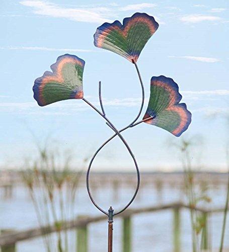 Recycled Metal Gingko Leaves Garden Wind Spinner