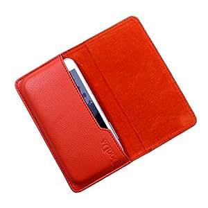 Dooda Genuine Leather Flip Pouch Case For iBall 5h Quadro (ORANGE)