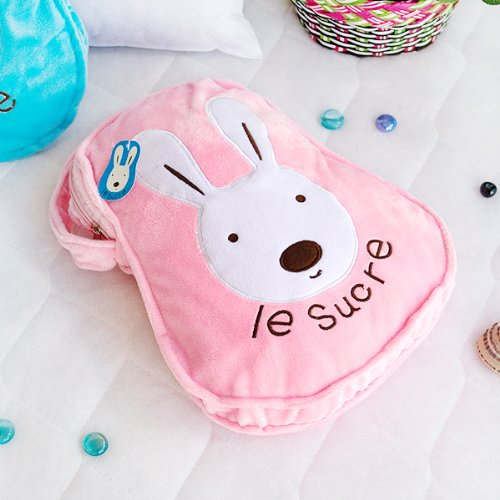 [Sugar Rabbit - Pink] Throw Blanket Pillow Cushion / Travel Pillow Blanket (25.2 by 37 inches)