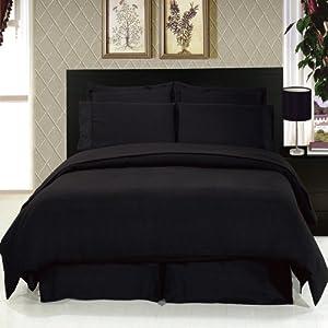 King Size Solid Black 8 Piece Bedding Set Super Soft Microfiber Sheets Duvet