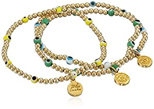 Blee Inara Gold Triple Yellow, White, Green Eye and Beads Stretchy Bracelet