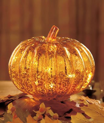 Antiqued Glass Lighted Pumpkin
