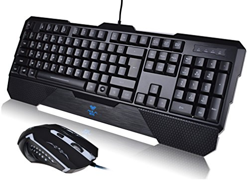 Led Illuminated Backlight Usb Wired Gaming Pc Keyboard W/ 2400Dpi 6D Game Mouse