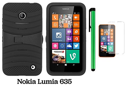 Nokia Lumia 635 / Nokia Lumia 630 Premium Pretty Ucase With Kickstand Cover Case (Us Carrier: T-Mobile, Metropcs, And At&T) + Screen Protector Film + 1 Of New Assorted Color Metal Stylus Touch Screen Pen (Black / Black)
