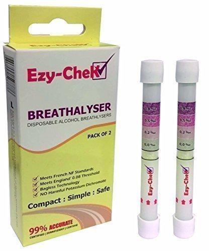 Ezy-CheK Alcootest - Technologie Sans Sac : Royaume-Uni et NF Détection Niveaux (Paquet Double) alcootest