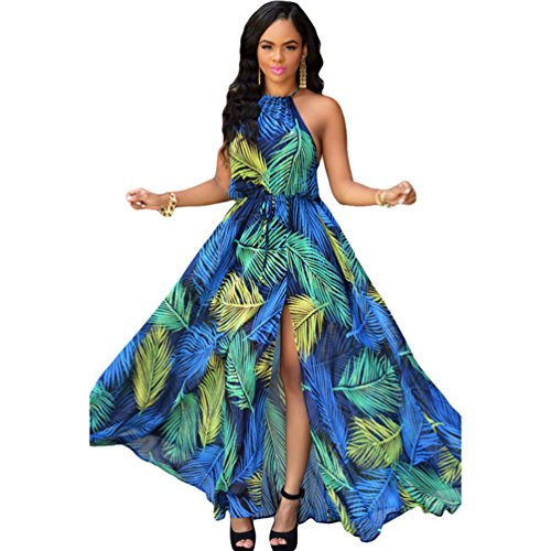 TomYork Palm Desert Navy-blue Multi-color Slit Maxi Dress(Size,L)
