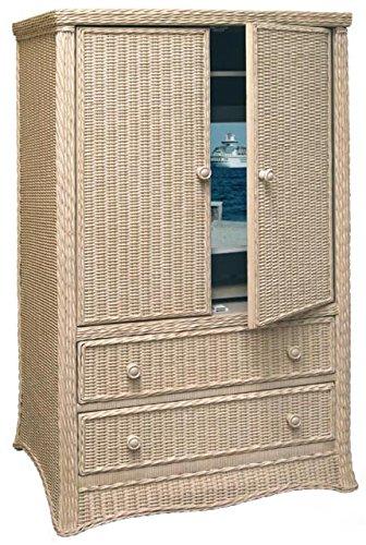 Florentine Wicker and Rattan Pocket Door TV Armoire in Whitewash