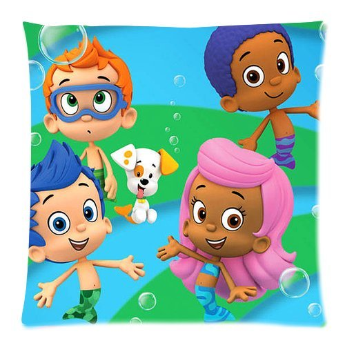 Stylish Design Standard Size 18X18 Two Side Print Hot Cartoon Bubble Guppies Cute Molly Gil Bubble Puppy Pillowcases Protector For Kids-1 front-812879