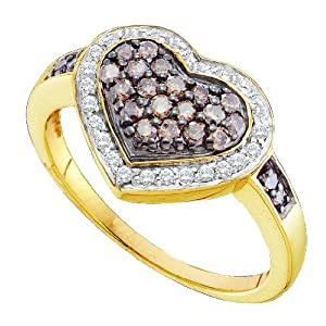 10K Yellow Gold .51CT Brilliant Diamond Heart Ring-Featuring Chocolate Diamonds