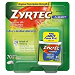 Zyrtec Allergy, Original Prescription Strength, 10 mg, Tablets, 70 ct.