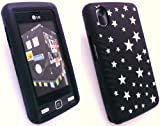 EMARTBUY LG KP500 COOKIE LCD SCREEN PROTECTOR AND SILICON CASE/COVER/SKIN BLACK STARS