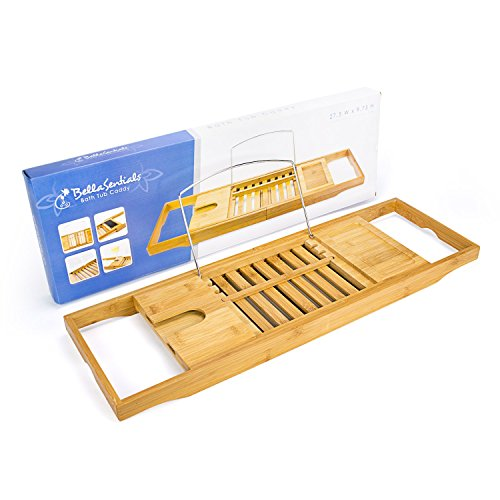 Bellasentials Bamboo Bathtub Caddy with Extending Sides and ...