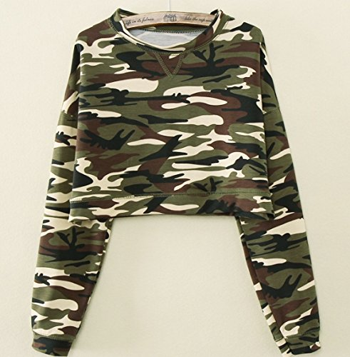 Fashion New Women Casual Camouflage Long Sleeve T shirts Long Sleeve Crop Top Camouflage Hoodies High Waist Pullovers Color:Deep Green Size:XL