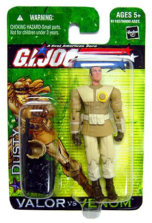 G.I. Joe 2004 A Real American Hero Valor Versus Venom 4 Inch Action Figure - Dusty (Desert Warfare Specialist) with Desert Helmet, Backpack, Pistol and Assault Rifle