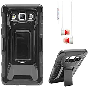 DMG Tough Polycarbonate Hard Back Defender Cover Case with Stand for Samsung Galaxy A5 (Black) + White Stereo Earphone with Mic and Volume Control