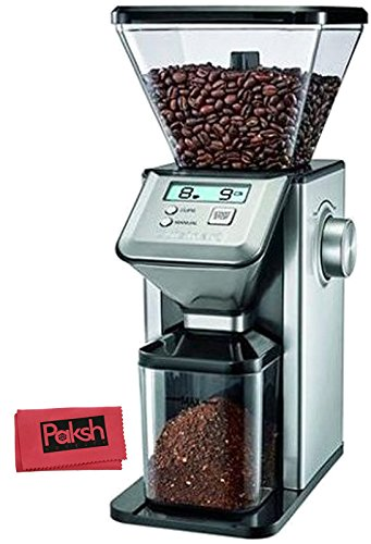 Kitchen Appliance Bundle - Premium Conical Coffee Grinder Professional Grade Conical Burr Grinder for Espresso, French Press, and Auto Drip Coffee, Spices, and Nuts, Silver, - Bundled With Cloth