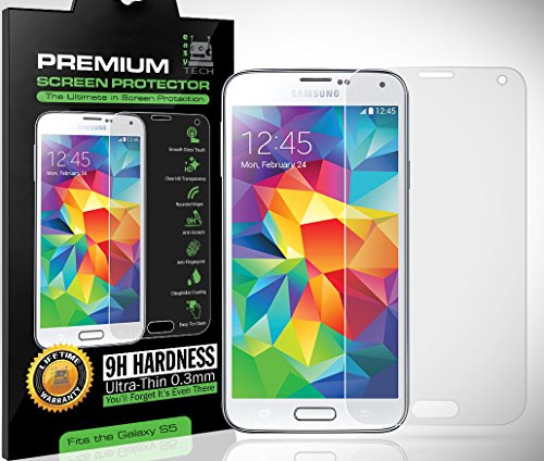 Premium HD Samsung Galaxy S5 Tempered Glass Screen Protector, 9H Hardness, .33mm Thick, Feels Like Your Cell/Mobile Phone's LCD Screen, 100% Clear o