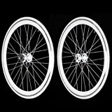Fixie Freewheel Track Wheel Wheelset Deep V White+Tires