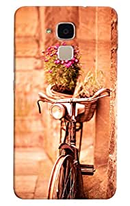 Omnam Vintage Cycle Standing On Wall With Flower Bucket Designer Back Cover Case for Huawei Honor 5C